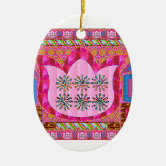 LOTUS Flower : Intuitive Art - Pearls, Jewels Double-Sided Oval Ceramic Christmas Ornament