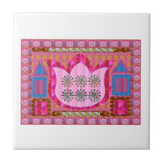 LOTUS Flower : Intuitive Art - Pearls, Jewels Ceramic Tile