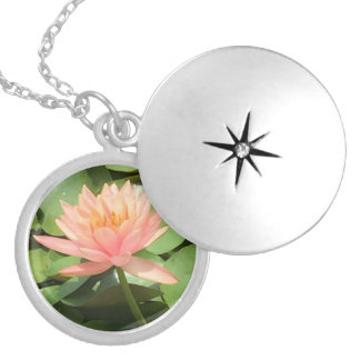 Lotus Flower Locket - Silver Necklace