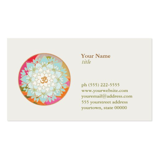 Lotus Flower Logo OM Symbol Health and Wellness Business Card Template