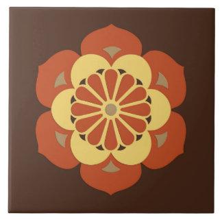 Lotus Flower Mandala, Brown, Rust and Yellow Large Square Tile