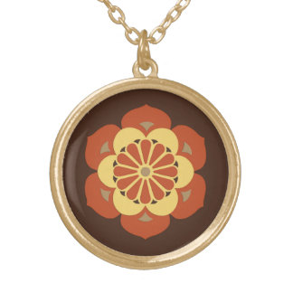 Lotus Flower Mandala, Brown, Rust and Yellow Round Pendant Necklace