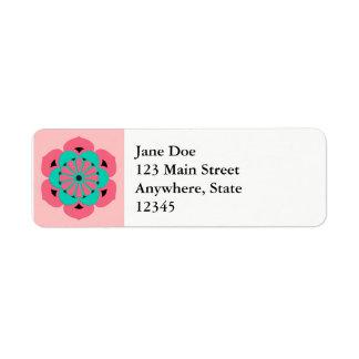 Lotus Flower Mandala, Coral Pink and Turquoise