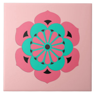 Lotus Flower Mandala, Coral Pink and Turquoise Large Square Tile