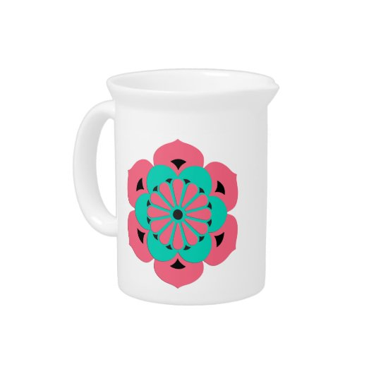 Lotus Flower Mandala, Coral Pink and Turquoise Pitcher