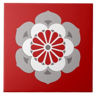 Lotus Flower Mandala, Dark Red, Gray and White Large Square Tile