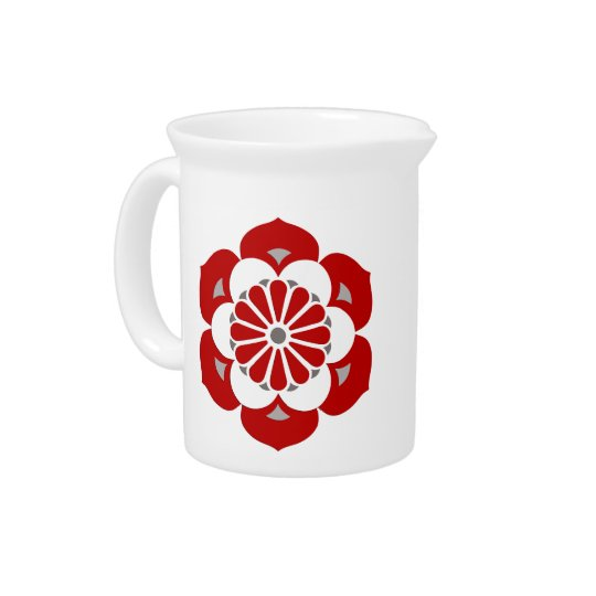 Lotus Flower Mandala, Dark Red, Grey and White Pitcher