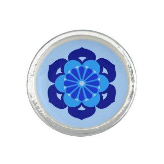 Lotus Flower Mandala, Indigo and Light Blue