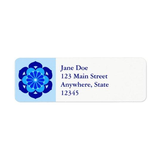 Lotus Flower Mandala, Indigo and Light Blue Return Address Label