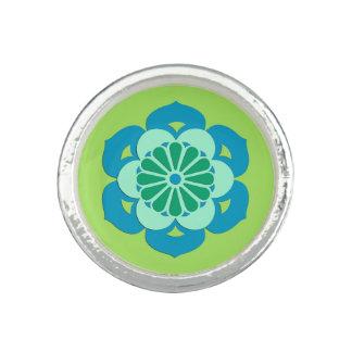 Lotus Flower Mandala, Lime Green and Light Blue