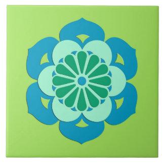 Lotus Flower Mandala, Lime Green and Light Blue Large Square Tile