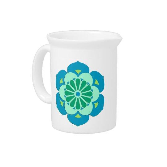 Lotus Flower Mandala, Lime Green and Light Blue Pitcher