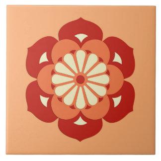 Lotus Flower Mandala, Pastel Orange and Mandarin Large Square Tile