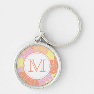 Lotus Flower Monogram Pink Yellow Orange Keychain