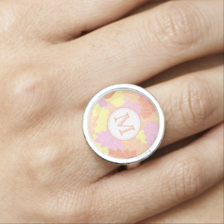 Lotus Flower Monogram Pink/Yellow/Orange Ring