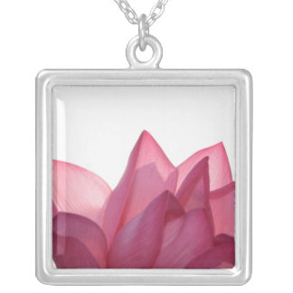 Lotus flower [Nelumbio speciosum] in full Silver Plated Necklace