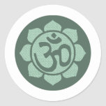 lotus flower ohm round stickers