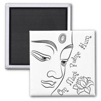 Lotus flower Om Mani Padme Hum Black Magnet