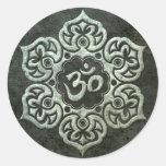 Lotus Flower Om with Aged Steel Effect Round Sticker