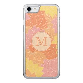 Lotus Flower Pattern Monogram Carved iPhone 7 Case