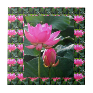 Lotus Flower Pink Small Square Tile