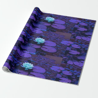 Lotus Flower Purple Blue Turquoise Floral Pond Zen Wrapping Paper