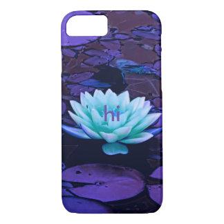 Lotus Flower Purple Turquoise Floral Monogrammed iPhone 8/7 Case