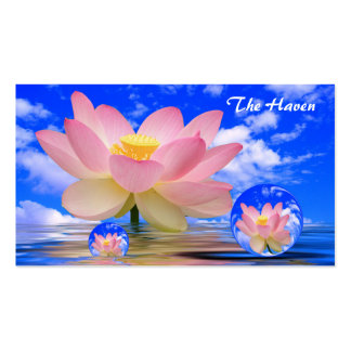 Lotus Flower Reflections Bubbles of Peace Business Card Template