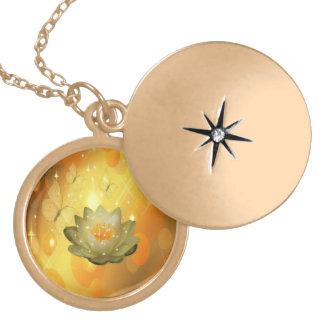 lotus flower round locket necklace