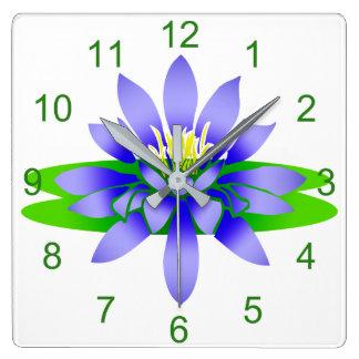 Lotus Flower Square Wall Clock