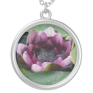 Lotus Flower Water Lily Silver  Round Necklace