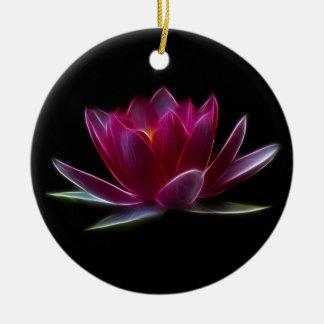 Lotus Flower Water Plant Round Ceramic Decoration