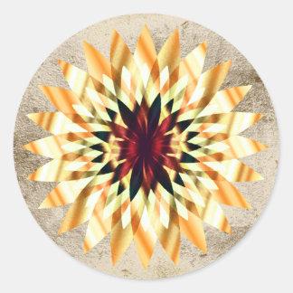 Lotus Flower Watercolor Gold Logo Healing Yoga Round Sticker