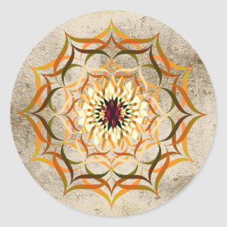 Lotus Flower Watercolor Gold Mandala Healing Yoga Round Sticker