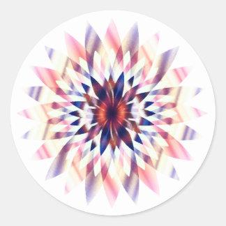 Lotus Flower Watercolor  Logo Healing Yoga Round Sticker