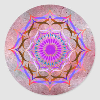 Lotus Flower Watercolor  Mandala Healing Yoga Round Sticker