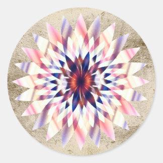 Lotus Flower Watercolor Purple Logo Healing Yoga Round Sticker