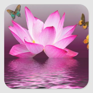 Lotus Flower with Butterfly Insect Square Sticker