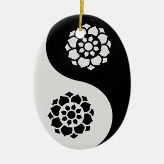 Lotus Flower Yin Yang Ceramic Oval Decoration
