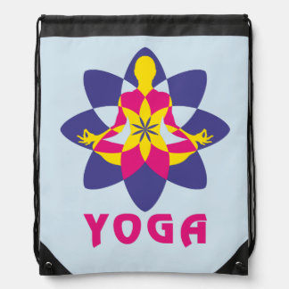 Lotus Flower Yoga Drawstring Bag