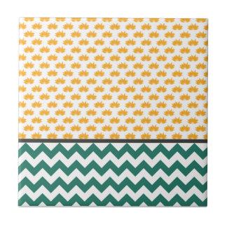 Lotus Flowers and Chevron Stripes - Orange and Tea Ceramic Tile