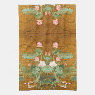 Lotus Flowers Geese Birds Asian Kitchen Towel
