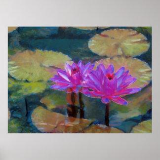 Lotus Flowers in Bloom Poster
