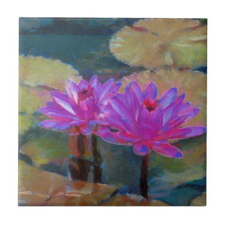 Lotus Flowers in Bloom Small Square Tile