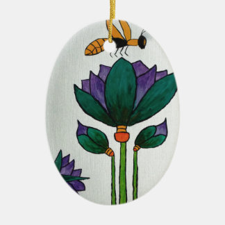 Lotus flowers with Bee Christmas Ornament