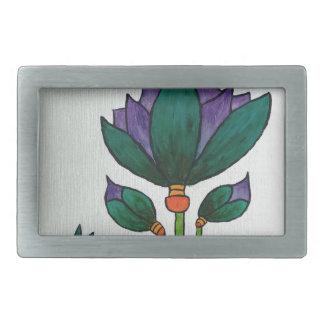 Lotus flowers with Bee Rectangular Belt Buckles