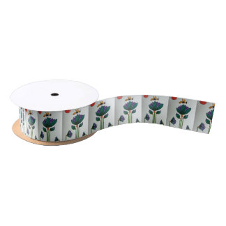 Lotus flowers with Bee Satin Ribbon