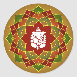 Lotus Ganesha Design Round Sticker