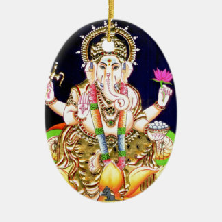 LOTUS GANESHA TANJORE PAINTING CERAMIC OVAL DECORATION