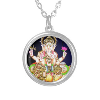 LOTUS GANESHA TANJORE PAINTING SILVER PLATED NECKLACE